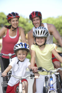 Family On Cycle Ride Together